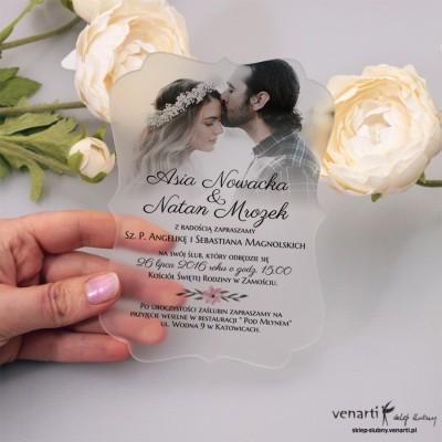 Ze zdjęciem Satynowe, akrylowe zaproszenia ślubne ozdobne z pleksi