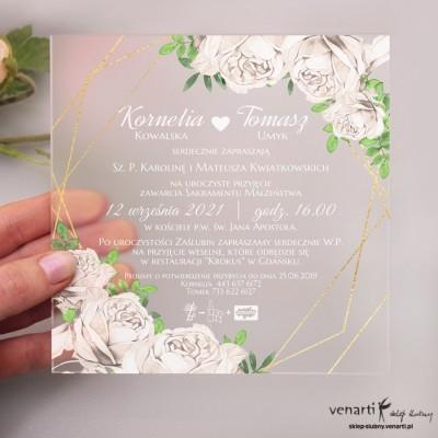Białe róże Satynowe, akrylowe zaproszenia ślubne
