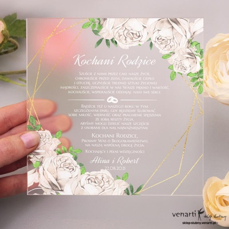Białe róże Satynowe, akrylowe zaproszenia dla Rodziców