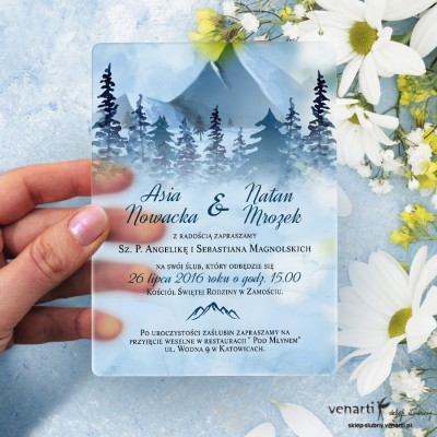 Góry Satynowe, akrylowe zaproszenia ślubne z pleksi