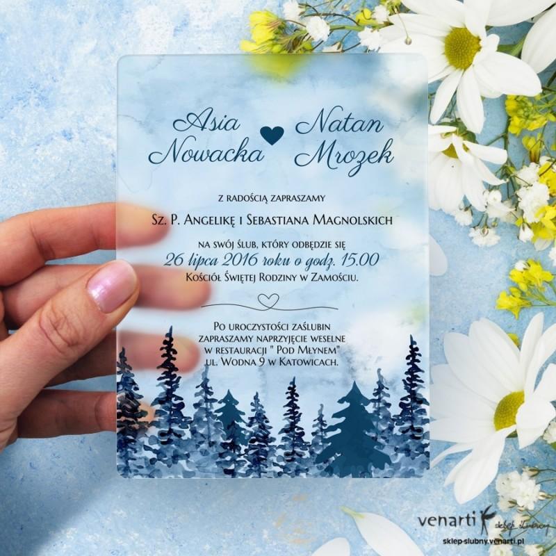 Las Satynowe, akrylowe zaproszenia ślubne z pleksi