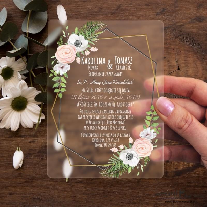 Białe anemone Satynowe, akrylowe zaproszenia ślubne z pleksi