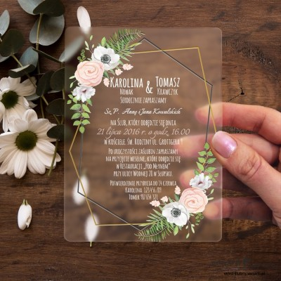 Białe anemone Satynowe, akrylowe zaproszenia ślubne ozdobne z pleksi
