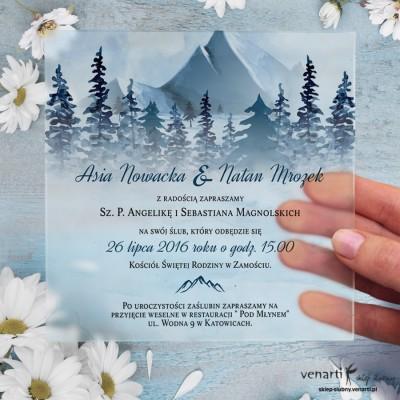 Góry Satynowe, akrylowe zaproszenia ślubne kwadratowe