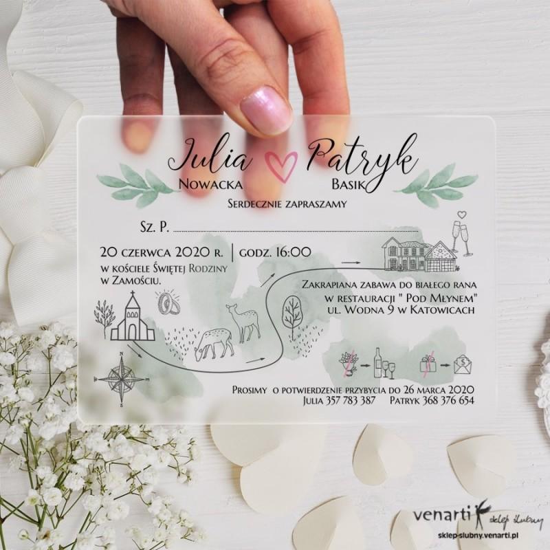 Mapka Satynowe, akrylowe zaproszenia ślubne z pleksi