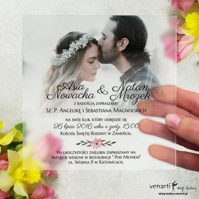 Satynowe, akrylowe zaproszenia ślubne ze zdjęciem, kwadratowe