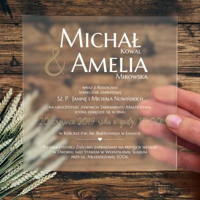Proste, satynowe, akrylowe zaproszenia ślubne
