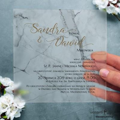 Marmur Satynowe, akrylowe zaproszenia ślubne