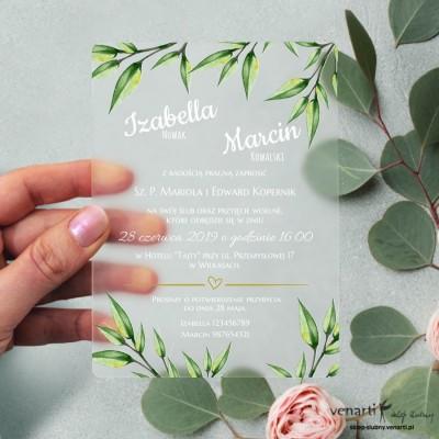 Eukaliptus Satynowe, akrylowe zaproszenia ślubne z pleksi