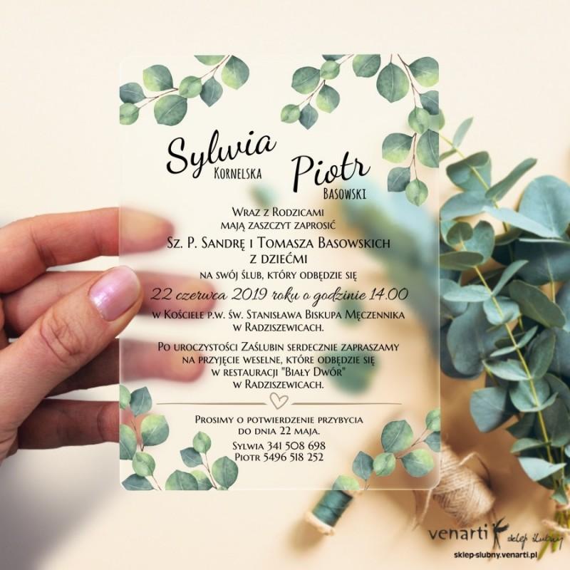 Liście eukaliptusa Satynowe, akrylowe zaproszenia ślubne z pleksi