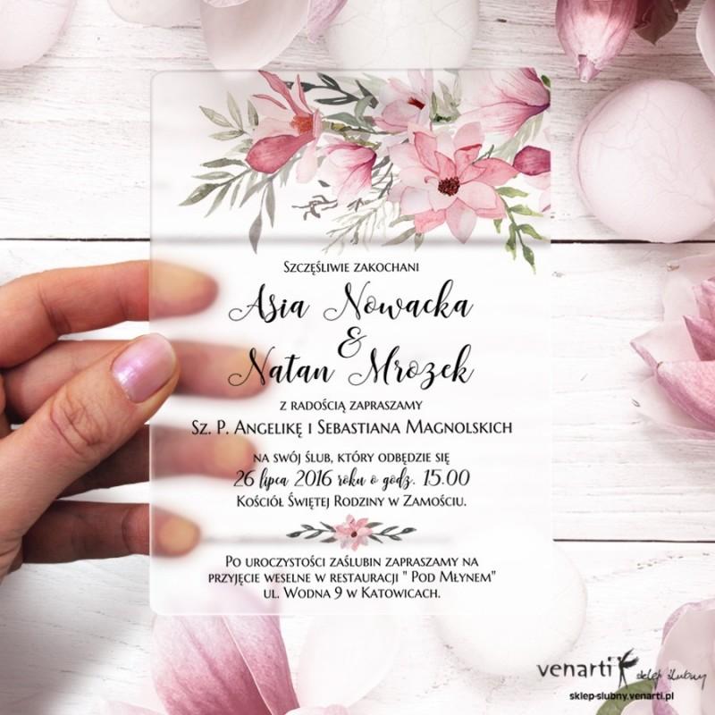 Magnolie Satynowe, akrylowe zaproszenia ślubne z pleksi