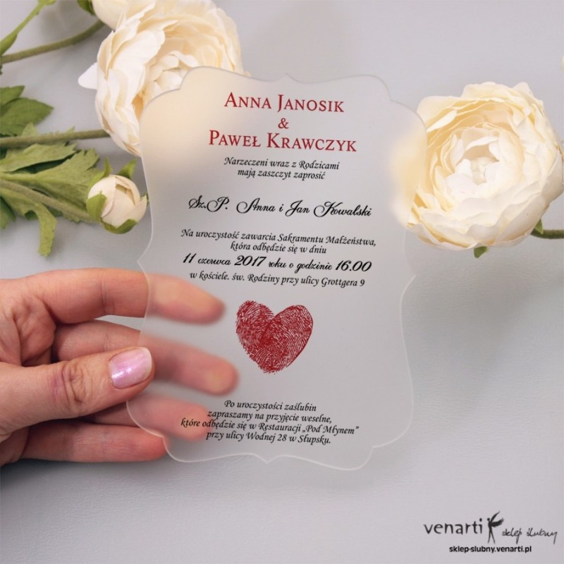 Serce z odcisków Satynowe, akrylowe zaproszenia ślubne ozdobne z pleksi