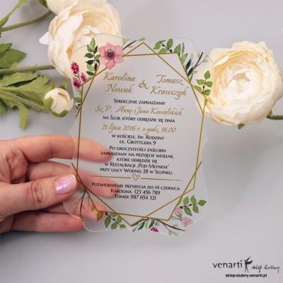 Złota ramka geometryczna z kwiatami Satynowe, akrylowe zaproszenia ślubne ozdobne z pleksi