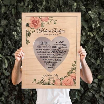 Pudrowe róże Obraz z lustrzanym sercem