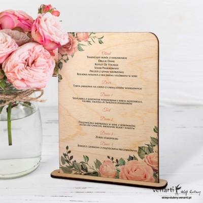Pudrowe róże Drewniane menu weselne