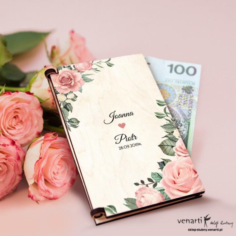 Pudrowe róże Pudełko, koperta na pieniądze