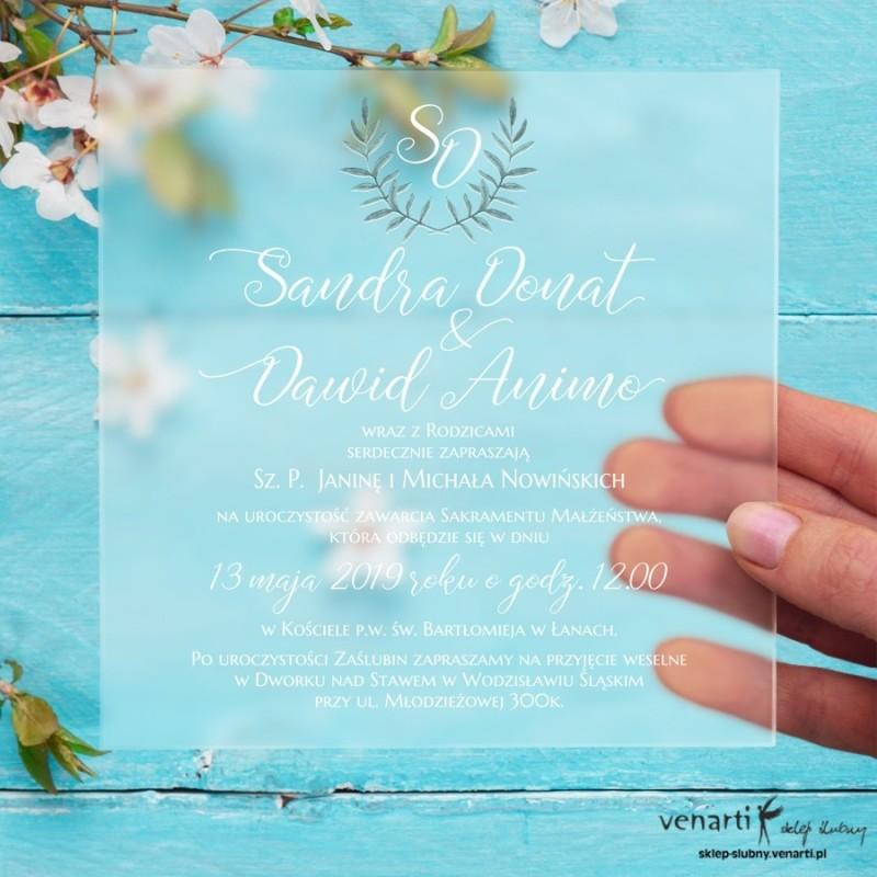 Zielona gałązka Satynowe, akrylowe zaproszenia ślubne kwadratowe