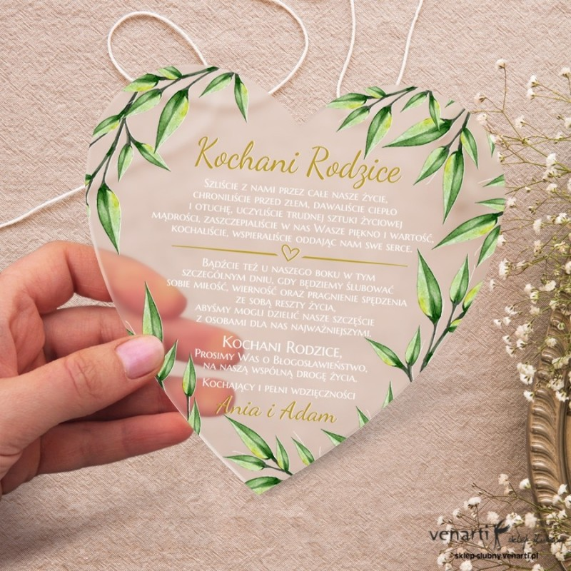 Liście eukaliptusa Satynowe, akrylowe zaproszenia dla Rodziców Serce