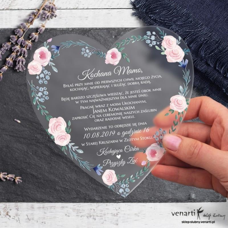 Różyczki Satynowe, akrylowe zaproszenia dla Rodziców Serce