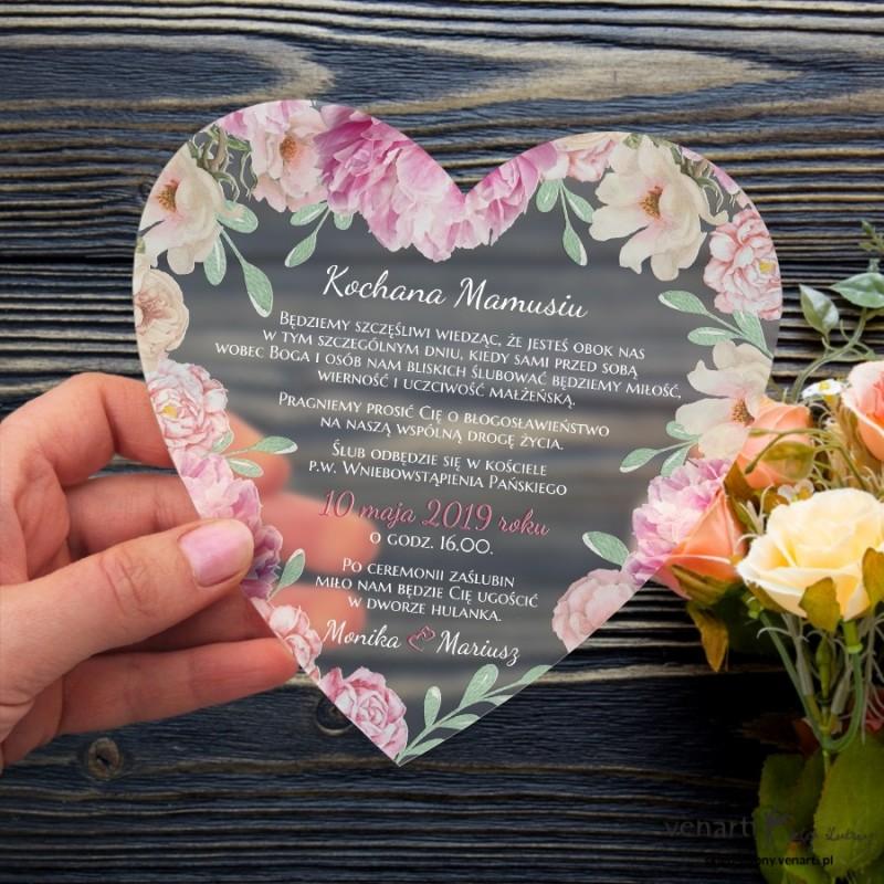 Piwonie Satynowe, akrylowe zaproszenia dla Rodziców Serce