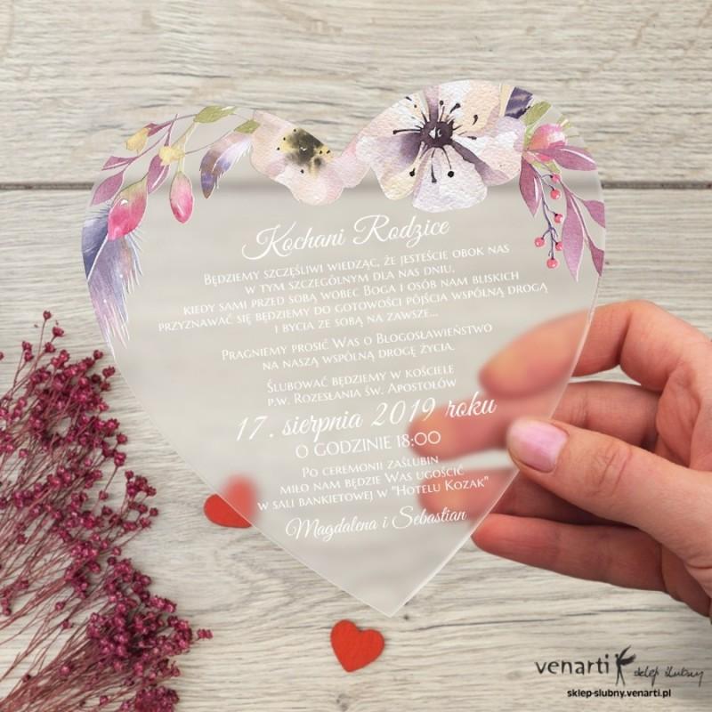 Kwiaty boho Satynowe, akrylowe zaproszenia dla Rodziców Serce