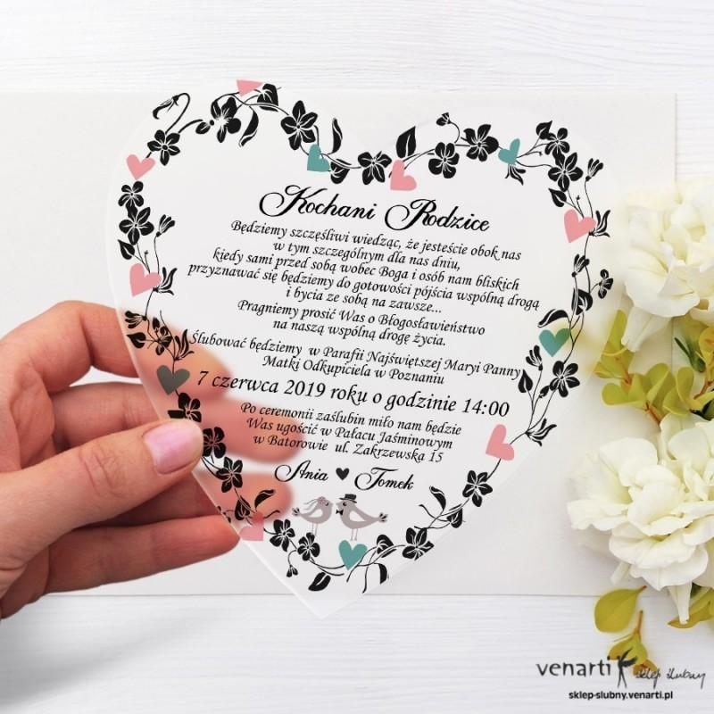 Ptaszki w sercu Satynowe, akrylowe zaproszenia dla Rodziców Serce