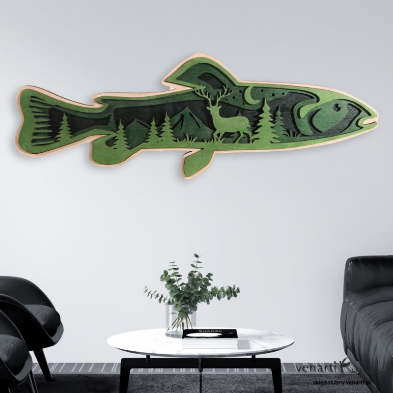 Ryba z lasem Warstwowy obraz 3D