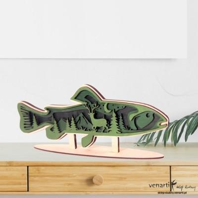 Ryba z lasem Warstwowa statuetka 3D