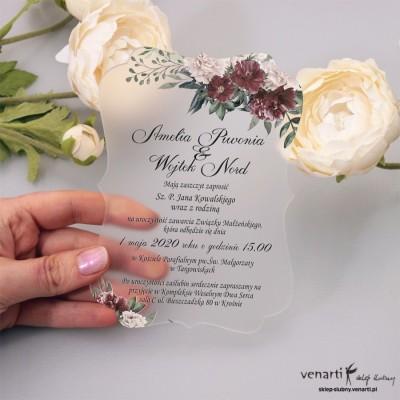 Bukiet piwonii Satynowe, akrylowe zaproszenia ślubne z pleksi