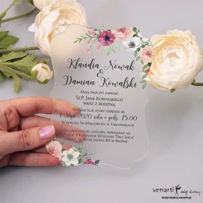Bukiet kwiatów Satynowe, akrylowe zaproszenia ślubne z pleksi