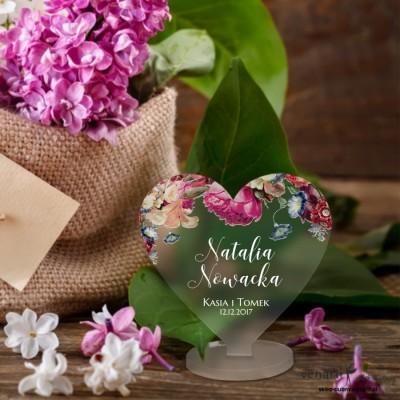 Eko kwiaty Winietki ślubne satynowe pleksi w kształcie serca