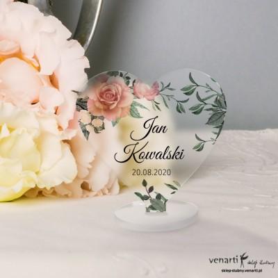 Pudrowe róże Winietki ślubne satynowe pleksi w kształcie serca