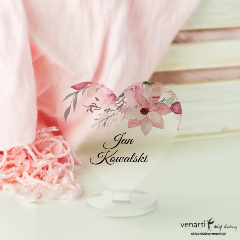 Magnolia Winietki ślubne satynowe pleksi w kształcie serca