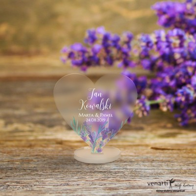 Lawenda Winietki ślubne satynowe pleksi w kształcie serca