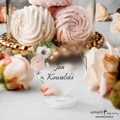 Białe anemone Winietki ślubne satynowe pleksi w kształcie serca
