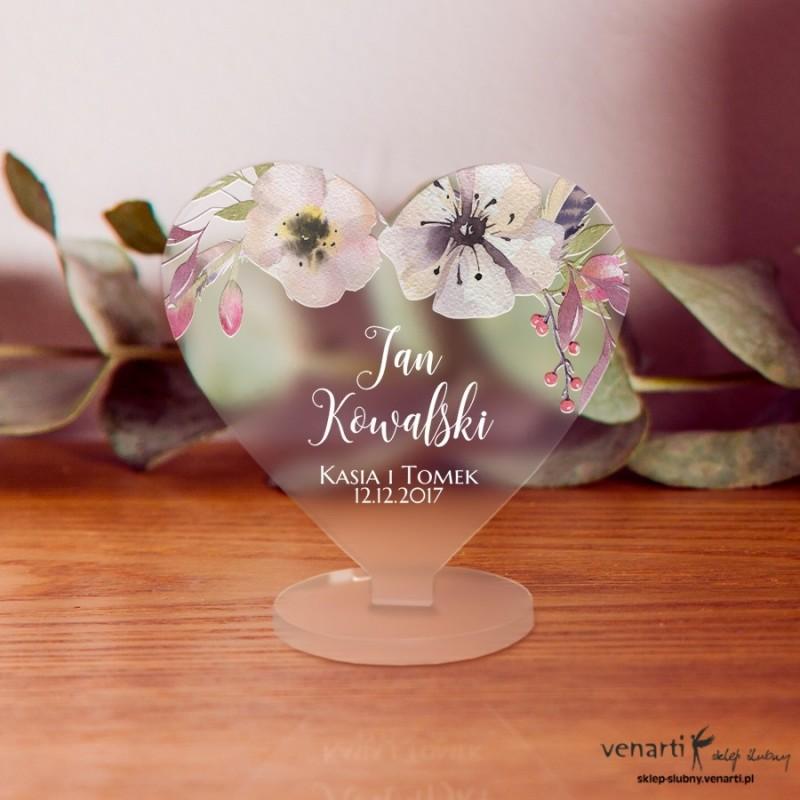 Kwiaty boho Winietki ślubne satynowe pleksi w kształcie serca