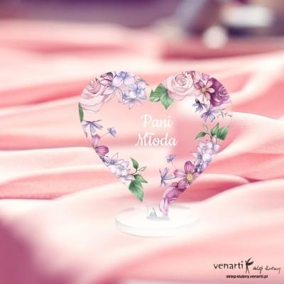 Rustykalne kwiaty Winietki ślubne satynowe pleksi w kształcie serca