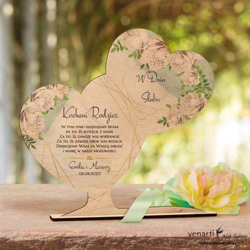 Białe róże Ślubna statuetka Podziękowanie dla rodziców