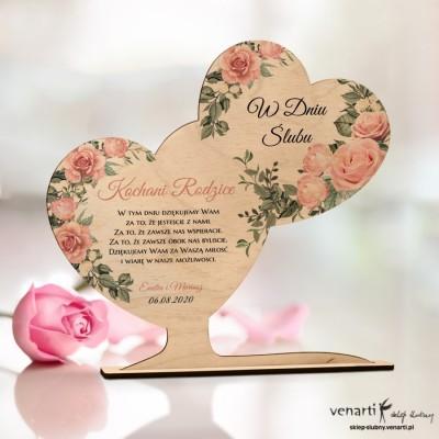Pudrowe róże Ślubna statuetka Podziękowanie dla rodziców