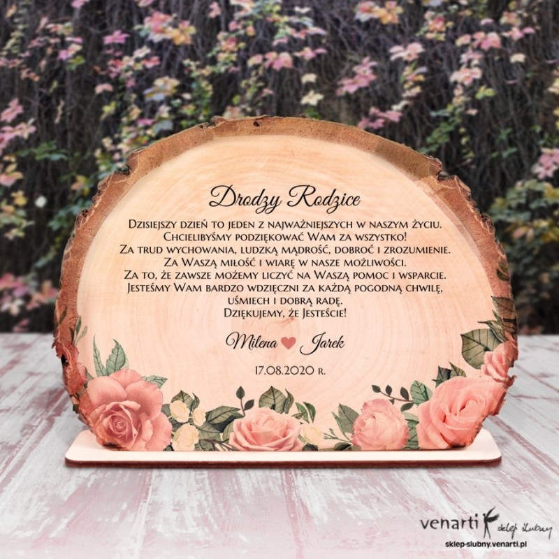 Pudrowe róże Podziękowania dla Rodziców Ślubna statuetka Plaster brzozy