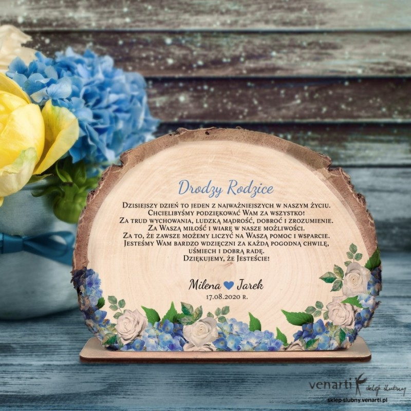 Hortensje Podziękowania dla Rodziców Ślubna statuetka Plaster brzozy