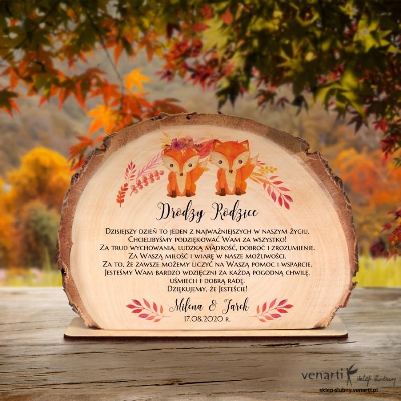 Para lisków Podziękowania dla Rodziców Ślubna statuetka Plaster brzozy