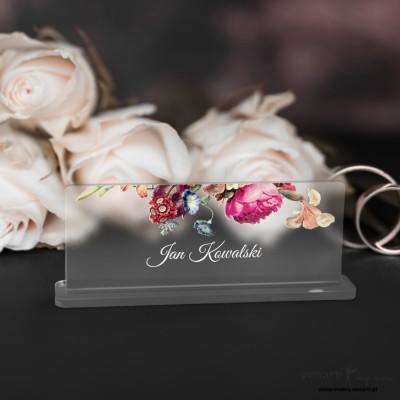Eko kwiaty Winietki ślubne satynowe pleksi