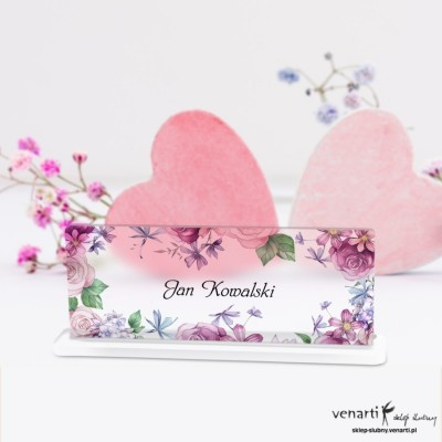 Kwiaty rustikal Winietki ślubne satynowe pleksi