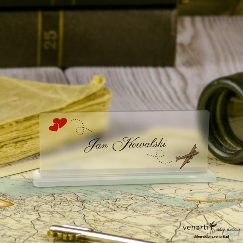 Samolot Mapa Winietki ślubne satynowe pleksi
