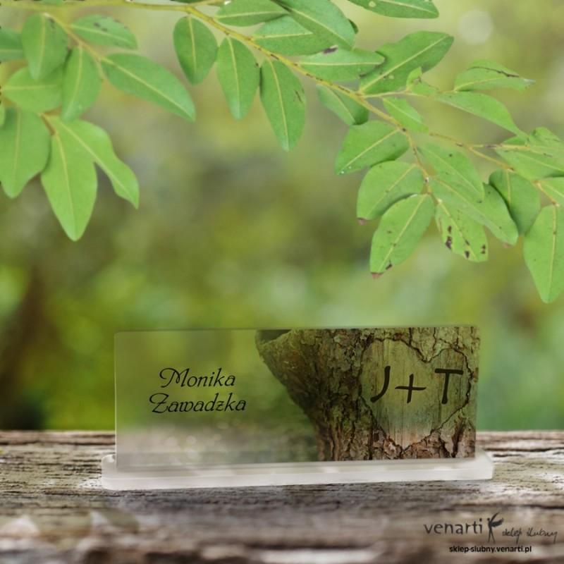 Kora z drzewa Mapa Winietki ślubne satynowe pleksi