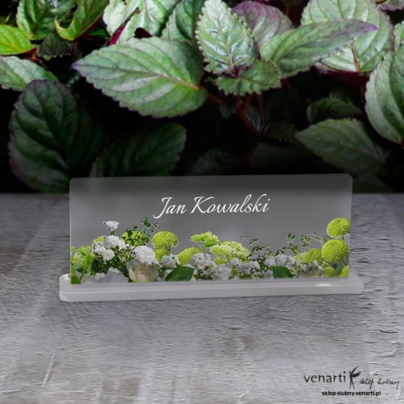 Białe kwiaty Mapa Winietki ślubne satynowe pleksi