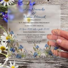 Chabry Satynowe, akrylowe zaproszenia ślubne kwadratowe