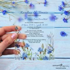 Chabry Satynowe, akrylowe zaproszenia ślubne z pleksi