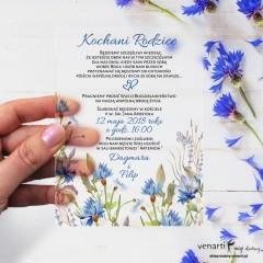 Chabry Satynowe, akrylowe zaproszenia dla Rodziców Serce